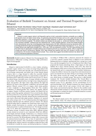 Evaluation of Biofield Treatment on Atomic and Thermal Properties of Ethanol