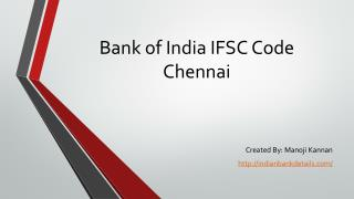 Bank of India IFSC Code Chennai branches