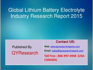 Global Lithium Battery Electrolyte Market 2015 Industry Research, Development, Analysis,  Growth and Trends