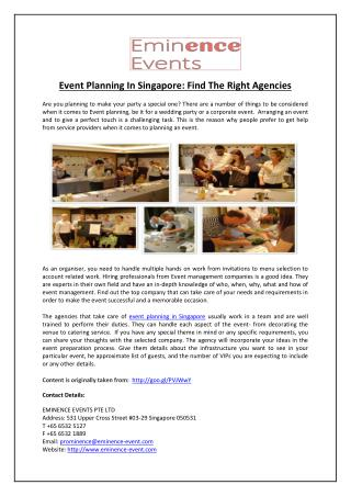Event Planning In Singapore: Find The Right Agencies