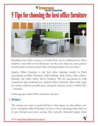 5 Tips for choosing the best office furniture