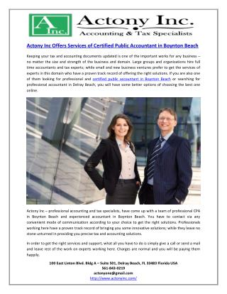 Actony Inc Offers Services of Certified Public Accountant in Boynton Beach