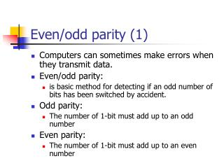 Even/odd parity (1)
