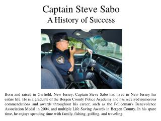 Captain Steve Sabo A History of Success