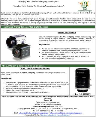 BALAJI OPTICS | MACHINE VISION LENSES |MACHINE VISION