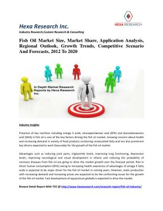 Fish Oil Market Size, Market Share, Application Analysis, Regional Outlook, Growth Trends, Competitive Scenario And Fore