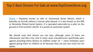 Top 5 Best Drones For Sale with Discount at www.TopDroneStore.org
