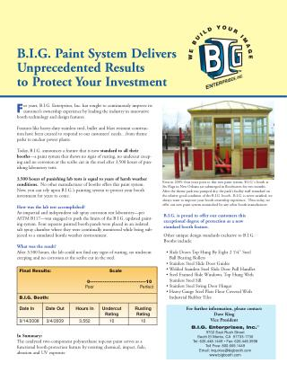 B.I.G. Paint System Delivers Unprecedented Results to Protect Your Investment