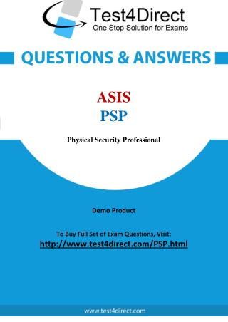 ASIS PSP Exam - Updated Questions