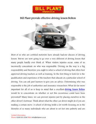 Driving Lessons Bolton
