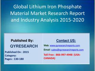 Global Lithium Iron Phosphate Material Market 2015 Industry Growth, Outlook, Development and Analysis