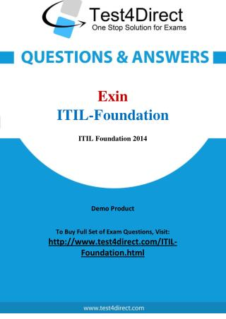 Exin ITIL-Foundation Exam Questions