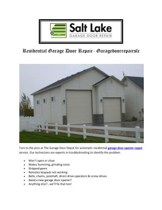 Residential Garage Door Repair- Garagedoorrepairslc