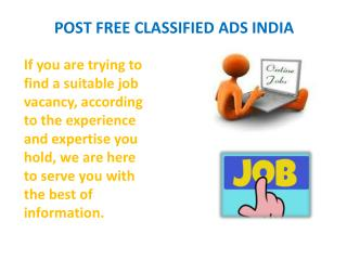 Post Free Classified Ads India