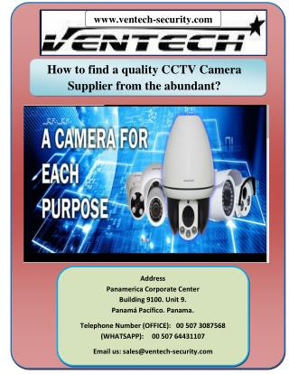 How to find a quality CCTV Camera Supplier from the abundant