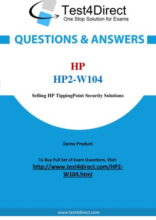 HP2-W104 HP Exam - Updated Questions