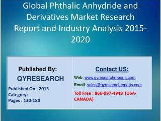 Global Phthalic Anhydride and Derivatives Market 2015 Industry Growth, Trends, Development, Research and  Analysis