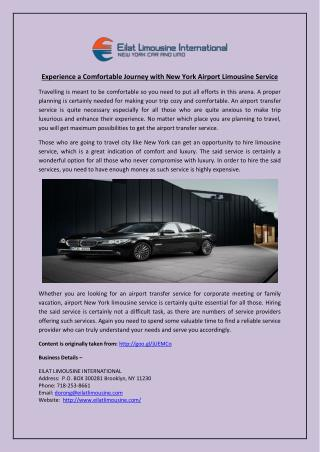 Experience a Comfortable Journey with New York Airport Limousine Service