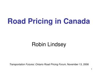 Road Pricing in Canada
