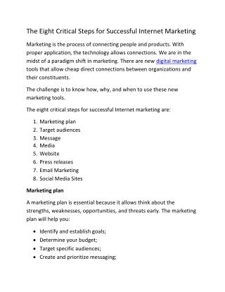 The Eight Critical Steps for Successful Internet Marketing