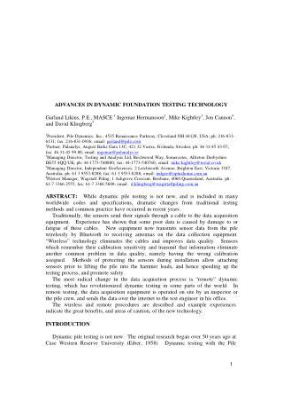 Advances dynamic pile testing technology - Independent Geoscience Pty Ltd