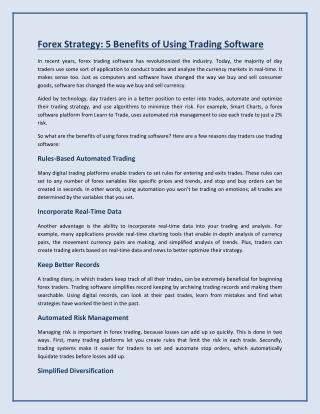 5 Benefits of Using Trading Software