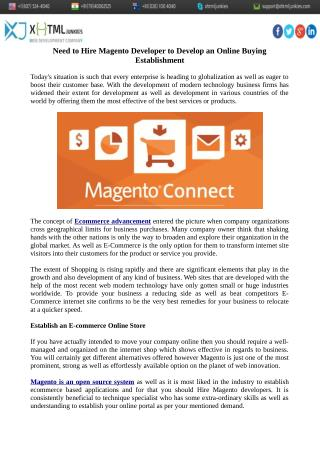 Need to Hire Magento Developer to Develop an Online Buying Establishment