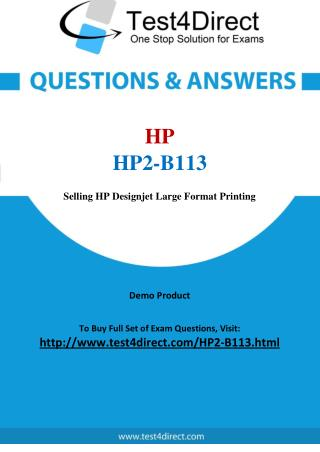 HP2-B113 HP Exam - Updated Questions