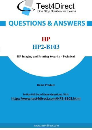 HP2-B103 HP Exam - Updated Questions