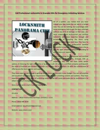 Call Professional Locksmiths in Granada Hills for Emergency Unlocking Services