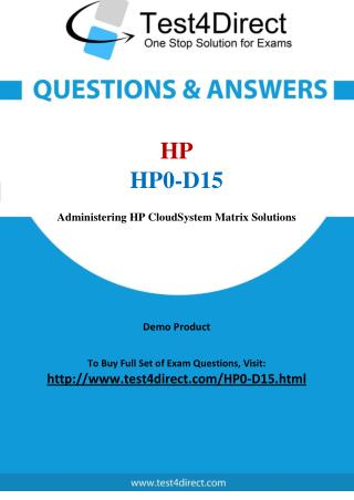 HP0-D15 HP ASE Real Exam Questions