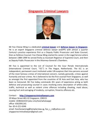 Singapore Criminal Lawyers | Criminal Defence Lawyer in Singapore - Foo Cheow Ming