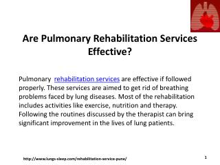 Are pulmonary rehabilitation services effective