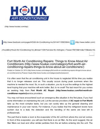 Fort Worth Air Conditioning Repairs: Things to Know About Air Conditioners