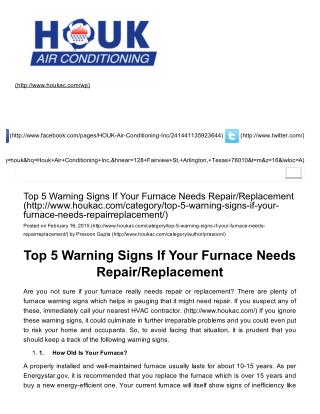 Top 5 Warning Signs If Your Furnace Needs Repair/Replacement