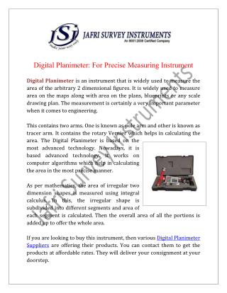 Digital Planimeter Wholesale Supplier And Exporters