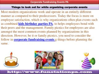 Kids Birthdays Parties, Corporate Fund raising Events, Craft fairs, Go carts, Miniature Golf, Raceway, Speedway, Laser T