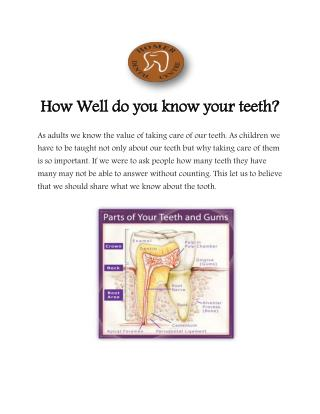 How Well do you know your teeth?