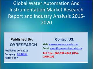 Global Water Automation And Instrumentation Market 2015 Industry Research, Outlook, Trends, Development, Study, Overview
