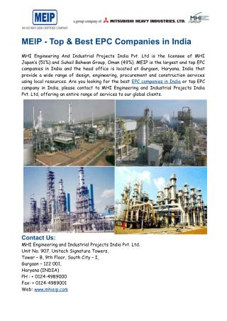 MEIP- Best EPC Companies in India