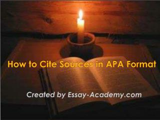 How to Cite Sources in APA Format