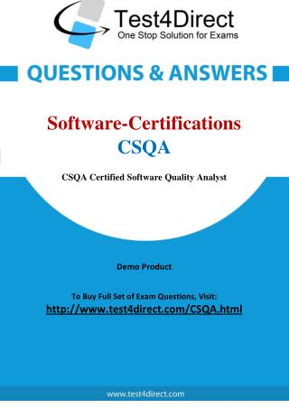 Software Certifications CSQA Exam Questions