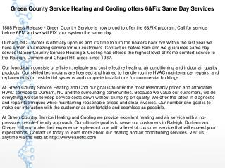 Green County Service Heating and Cooling offers 6&Fix Same Day Services