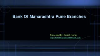 Bank Of Maharashtra Pune Branches