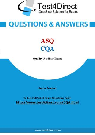 CQA ASQ Exam - Updated Questions
