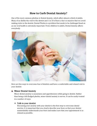 How to Curb Dental Anxiety