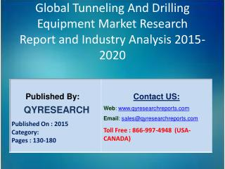 Global Tunneling And Drilling Equipment Market 2015 Industry Shares, Insights,Applications, Development, Growth, Overvie