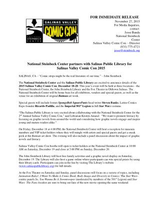 National Steinbeck Center partners with Salinas Public Library for Salinas Valley Comic Con 2015