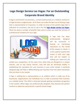 Logo Design Service Las Vegas For an Outstanding Corporate Brand Identity
