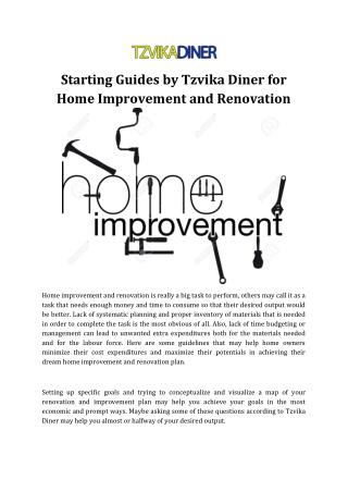 Starting Guides by Tzvika Diner for Home Improvement and Renovation